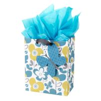 """Hallmark 9"""" Medium Gift Bag with Tissue Paper (Flowers and Butterflies; Turquoise and Yellow) for Birthdays, Mothers Day, Bridal Showers, Baby Showers and More"""