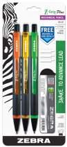 Zebra Pen Z-Grip Plus Mechanical Pencil, 0.7mm, Bonus Lead and Erasers, Assorted Barrel Colors, Blue, Pink, Black, 3 Pack