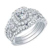 SHELOVES Engagement Wedding Ring Set for Women Sterling Silver Round Pear Cz Blue Sapphire