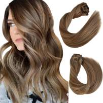 Remy Clip in Human Hair Extensions Ash Brown to Beige Blonde Highlighted Clip in Hair Extensions Straight Double Weft Clip in Real Extensions 8 PCS 120G Full Head for Women 16 Inch