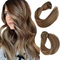 Clip in Hair Extensions Ash Brown with Beige Blonde Highlights Remy Clip in Human Hair Extensions 8 Pieces Double Weft Straight Clip in Real Hair Extensions Full Head for Women 14Inch 100G