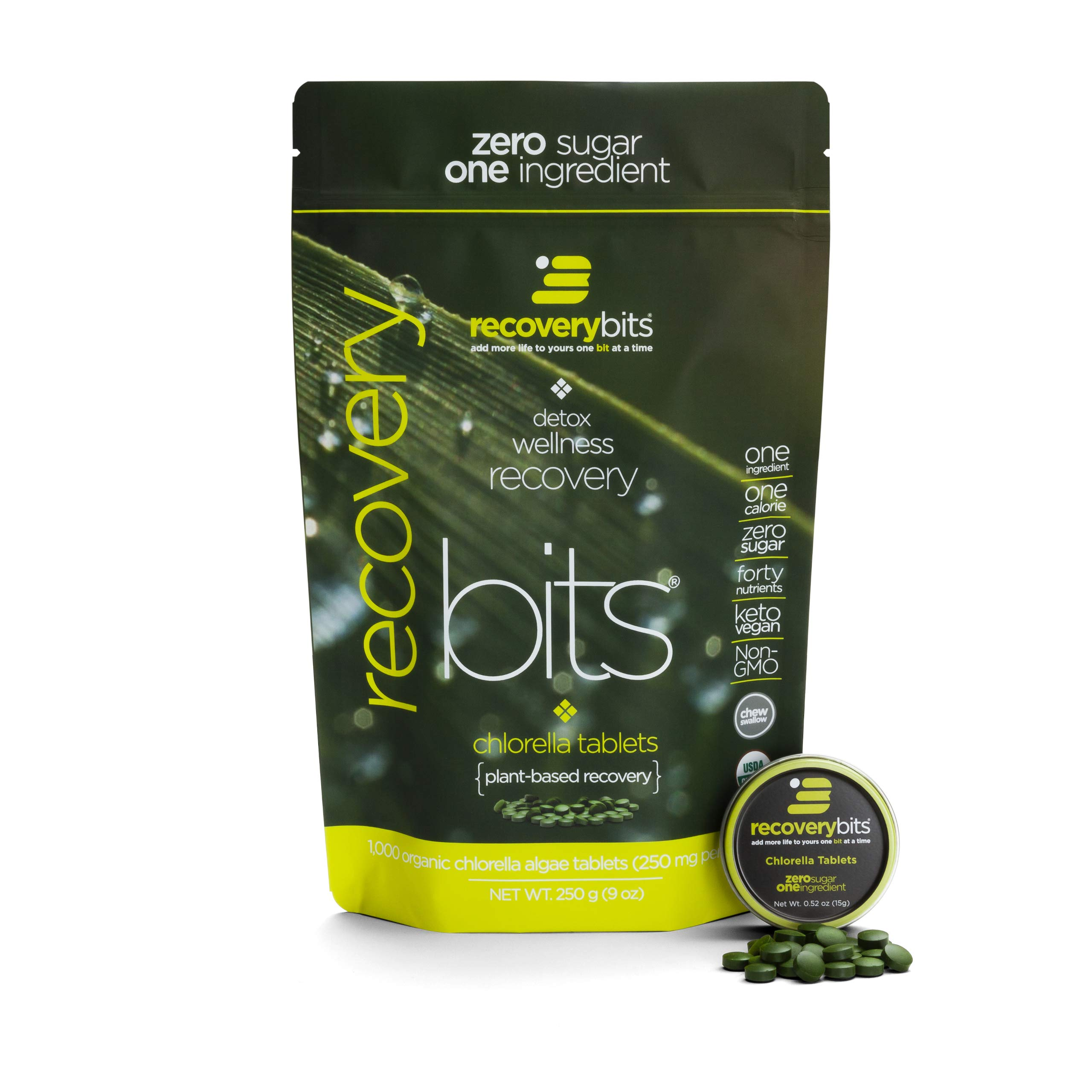 RECOVERYbits Pure Chlorella Tablets - Bag of 1,000 Tablets (250mg per Tablet) - Cracked Cell Wall, Non-GMO, Non-Irradiated, Raw, Green Algae - Keto, Vegan Friendly