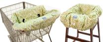 Itzy Ritzy Shopping Cart and High Chair Cover Featuring Padding, Toy Loops, Pockets and Safety Belts - For Use in Shopping Carts and High Chairs, Avocado Damask