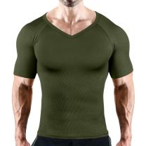 HÖTER Mens Slim and Tight Super Soft Compression & Slimming Shaper V-Neck Compression Shirt