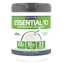 Designer Protein Essential 10, Madagascar Vanilla, 1.32 Pound, Plant Based Meal Replacement Protein Powder, Made in USA