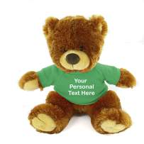 Plushland Honey Noah Teddy Bear 12 Inch, Stuffed Animal Personalized Gift - Custom Text on Shirt - Great Present for Mothers Day, Valentine Day, Graduation Day, Birthday (Kelly Green Shirt)