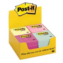 Post-it Notes, America's #1 Favorite Sticky Note, 3 in x 3 in, Marseille Colors PDQ Tray, 24 Pads/Tray (654-MPDQ)