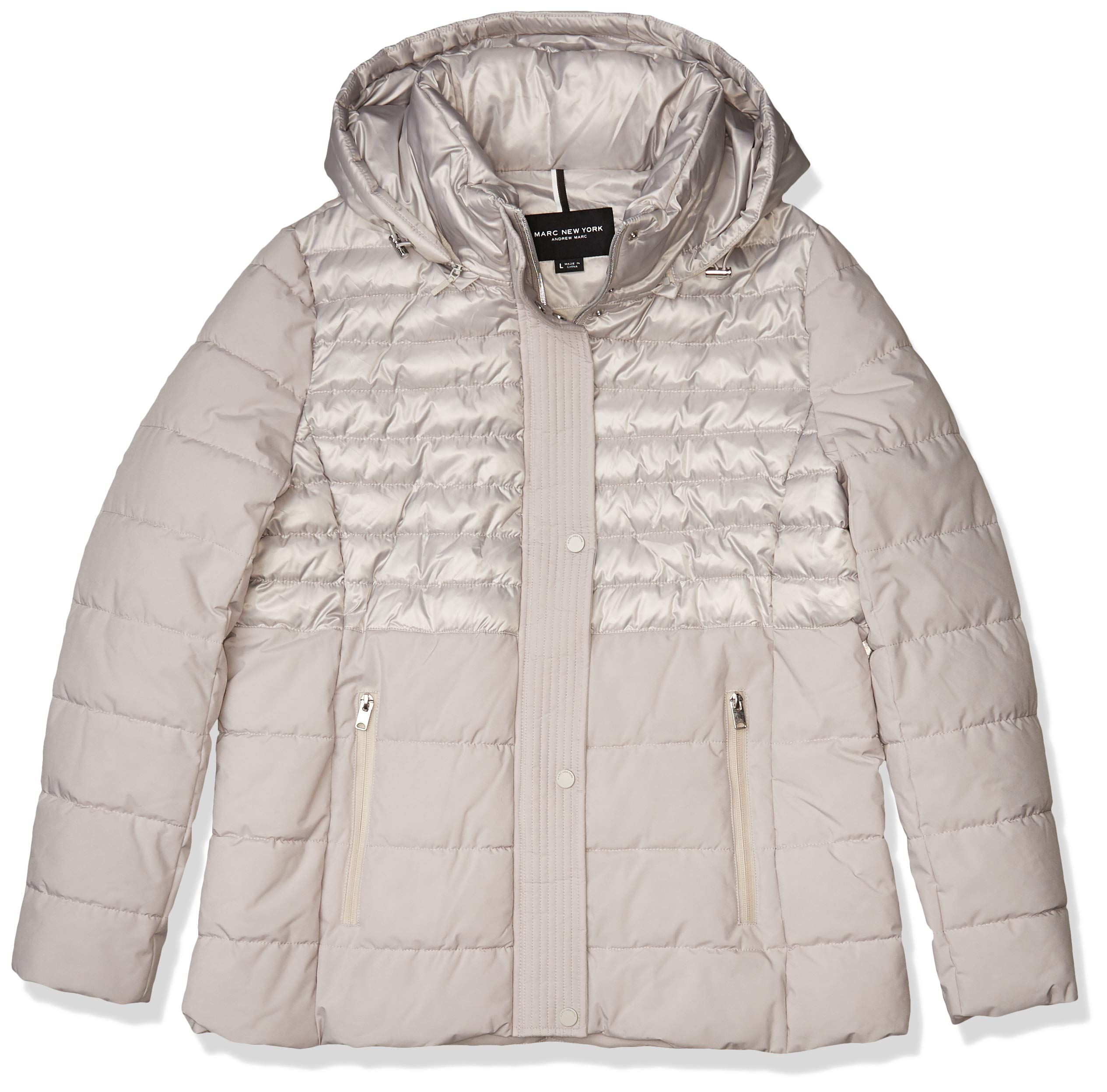 Marc New York by Andrew Marc Women's Macoya Mixed Media Jacket with Removable Hood