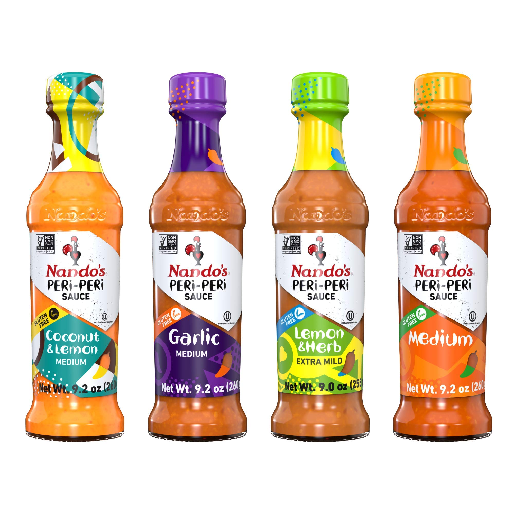 Nando's PERi PERi Hot Sauce Foodies Flavor Pack - Coconut Lemon, Lemon & Herb, Garlic, Medium - 9.1oz Bottles, 4PK