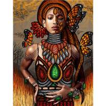 SKRYUIE 5D Full Drill Diamond Painting African Women Meadows and Butterflies by Number Kits, Paint with Diamonds Arts Embroidery DIY Craft Set Arts Decorations (12x16 inch)
