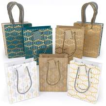 ARTEZA Gift Bags, 9.5 x7 x 3.4 Inches, Set of 15 with an Assortment of 2 Unique Metallic Foil Designs on 6 Kraft, 6 White, and 3 Blue Paper Bags, 3 of Each Style