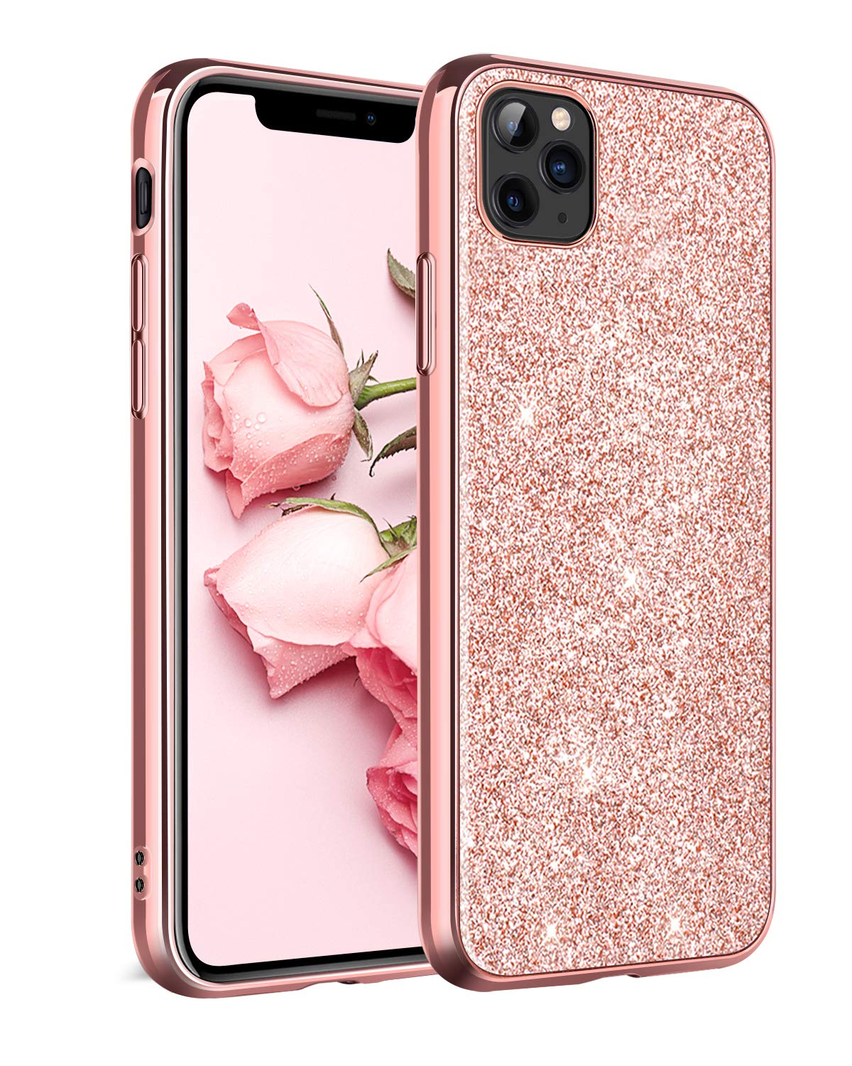 """DOMAVER iPhone 11 Pro Max Case, iPhone 11 Pro Max Phone Case with Sparkly Trendy Slim Smooth Cell Phone Cover Rose Gold Glitter Shockproof Protective Case for iPhone 11 Pro Max 6.5"""" (2019 Release)"""