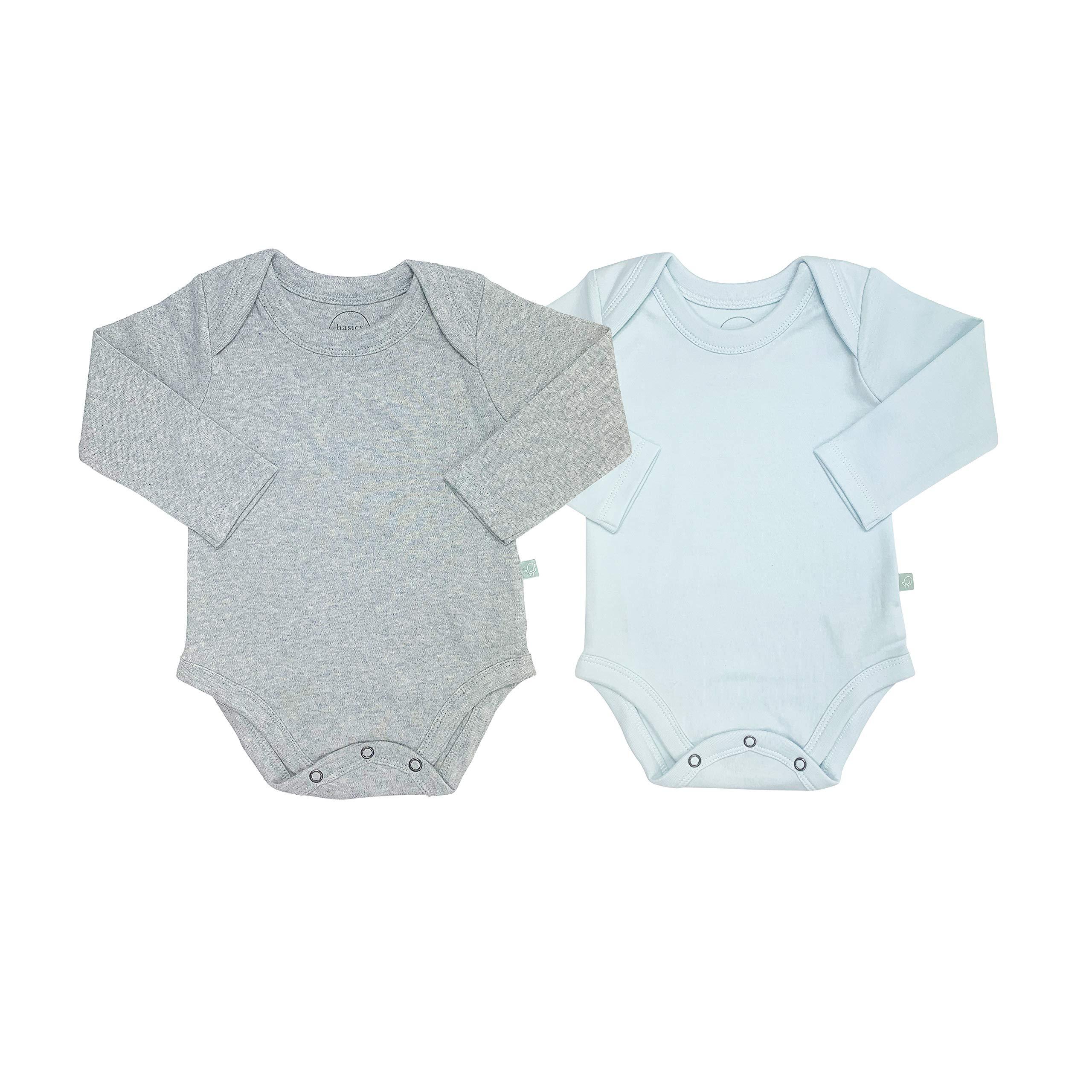 Finn + Emma Basics 2 Pack Long Sleeve Baby Bodysuit - Light Blue & Heather Gray, 3-6m