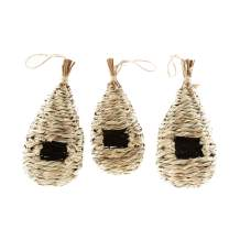 Clever Garden Hanging Hummingbird House Tan Set of 3 Grass Hand Woven Nest Birdhouse Perfect for Outdoor Home and Garden Decoration