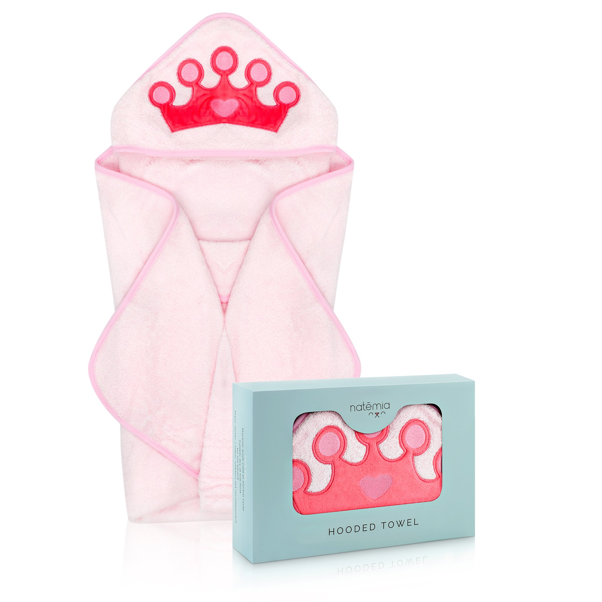 Natemia Princess Rayon from Bamboo Hooded Towel for Kids | Highly Absorbent, Plush, Soft Baby Towel | for Girls,Toddlers, Newborns & Infants | Great Baby Shower/Registry Gift