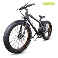 NAKTO 26'' Electric Bicycle 6-Speed Ebike Mountain Electric Bike with 300W Rear Hub Motor and 36V 10AH Lithium Battery,Lock and Charger
