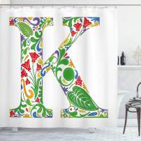 "Ambesonne Letter K Shower Curtain, Vivid Color Scheme Natural Inspirations Flowers Leaves Stalks Uppercase K Alphabet, Cloth Fabric Bathroom Decor Set with Hooks, 70"" Long, White Green K"
