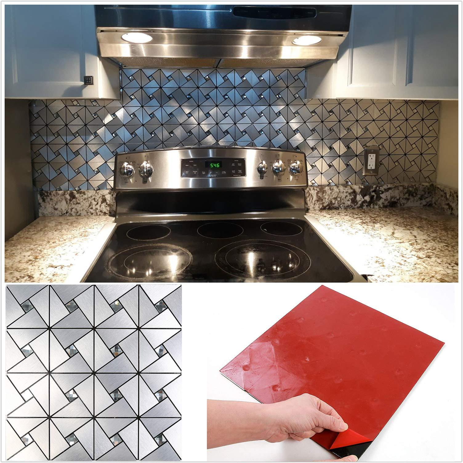 Homeymosaic Peel And Stick Tile Backsplash Stick On Kitchen Wall Decor Aluminum Surface Metal Mosaic Smart Tiles Wall Sticker Windmill Puzzle Glass Mixed 12 X12 X 5 Sheets