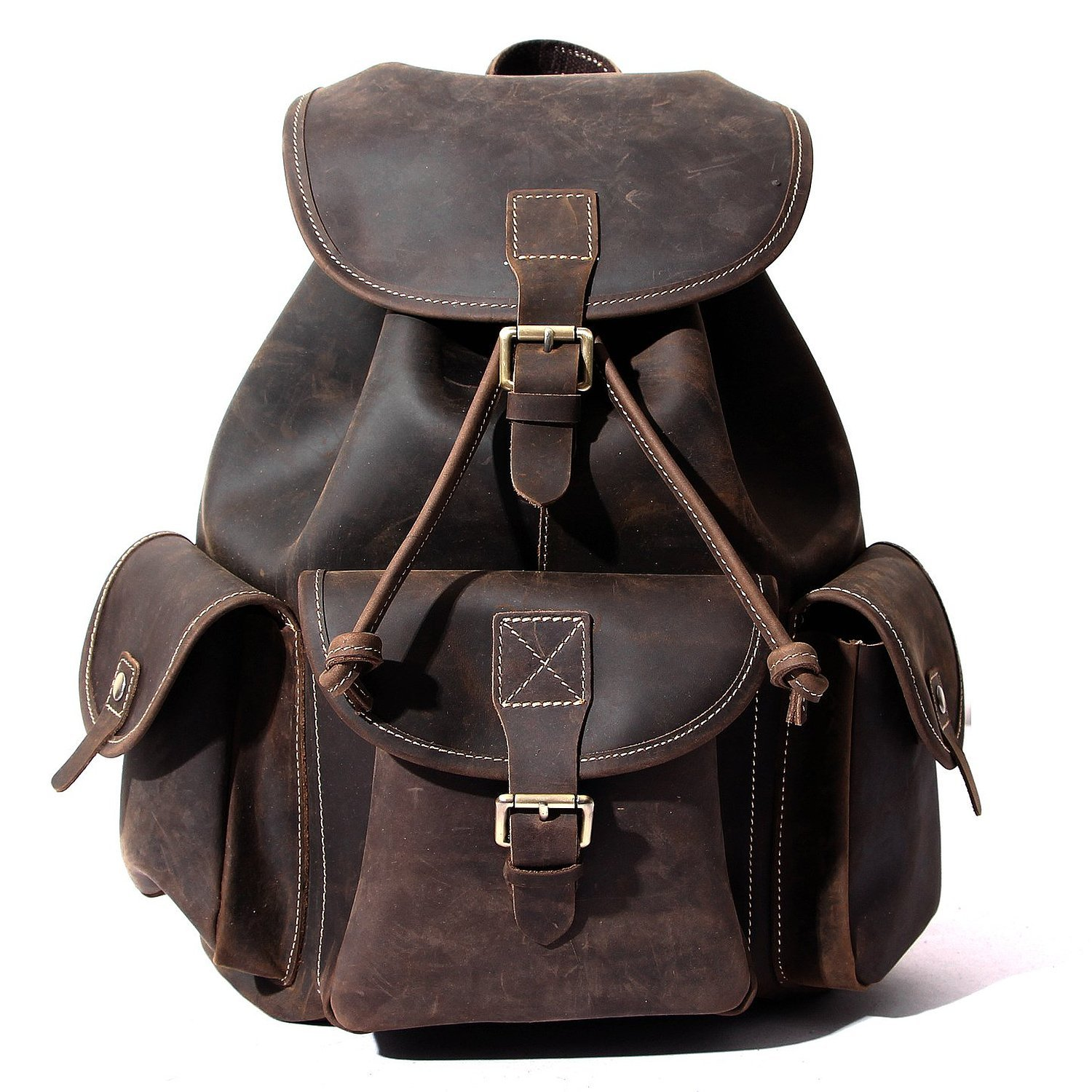 Leather Backpack, Berchirly Vintage Real Leather Travel Backpacks Rucksack School Laptop Camping Hiking Bag for College