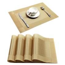 U'Artlines Placemat, Crossweave Woven Vinyl Non-Slip Insulation Placemat Washable Table Mats (Gold, 4pcs placemats)