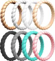 ThunderFit Thin Braided Silicone Wedding Rings for Women - 16 Rings / 12 Rings / 10 Rings / 8 Rings / 4 Rings / 1 Ring Stackable Rubber Engagement Band 3.1mm Width - 2mm Thick