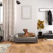 Ollie & Hutch Pin Tufted Pet, Large Size Bed, Gray Velvet Sofas