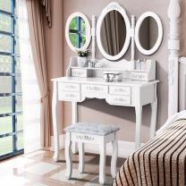 mecor Makeup Vanity with 7 Drawers,Vanity Table Set w/Tri-fold Mirror Girls Women Wood Dressing Table Cushioned Stool Bedroom Furniture White