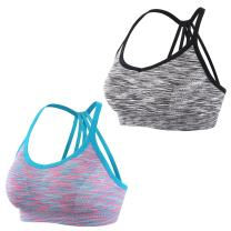 EMY Strappy Sports Bra Space Dye Parachute Back Seamless Removable Pads for Yoga Running Workout Fitness