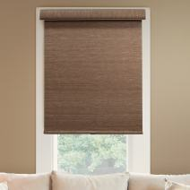 """Chicology Deluxe Free-Stop Cordless Roller Shades, No Tug Privacy Window Blind, Felton Truffle (Privacy & Natural Woven), 46""""W X 72""""H"""