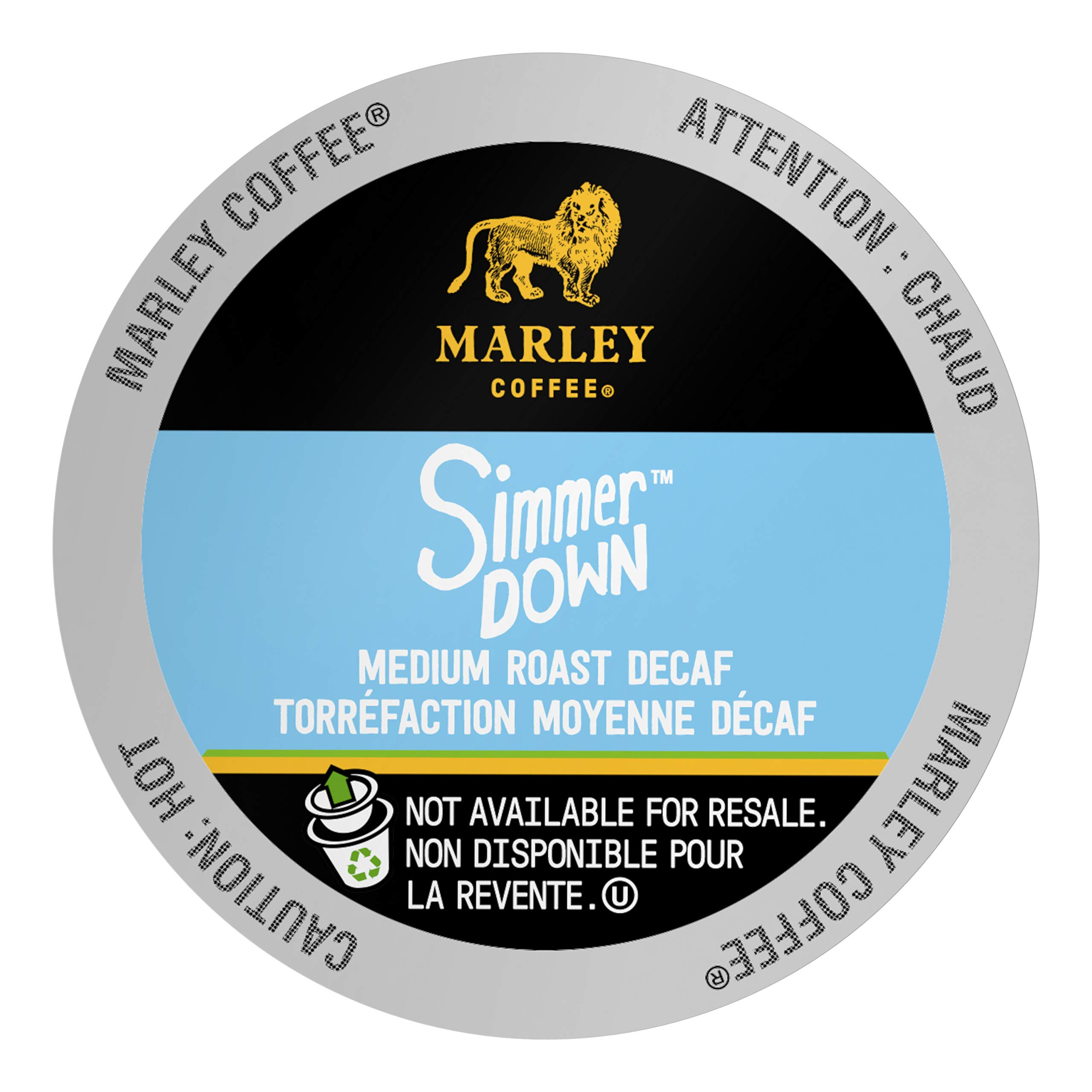 Marley Coffee Single Serve Capsules, Simmer Down Decaf, Swiss Water Process, Medium Roast, Compatible with Keurig K-Cup Brewers, 12 Count (Pack of 6)