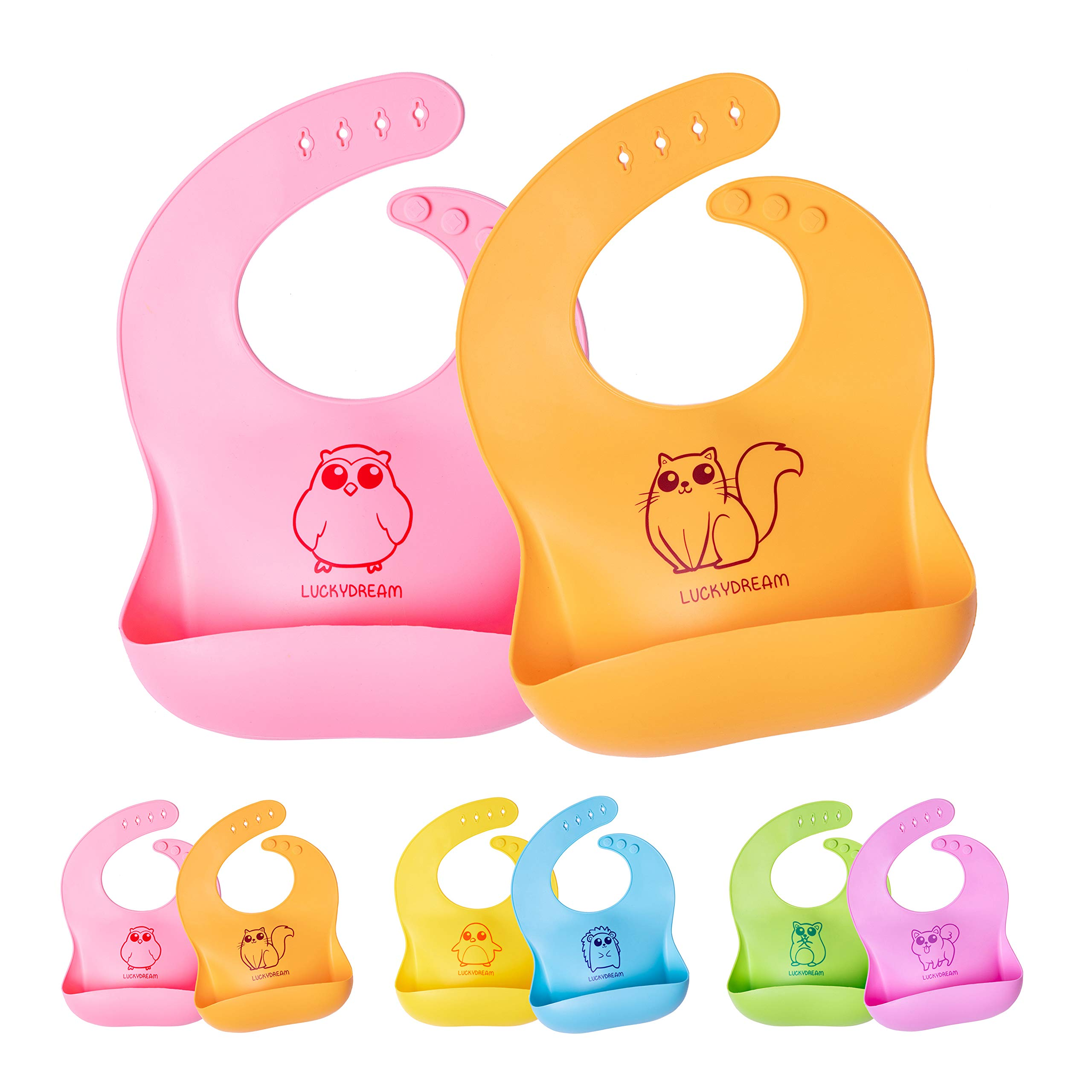LuckyDream Premium Waterproof Silicone Bibs for Babies and Toddlers with Wide Stay Open Pocket - Set of 2 - Easy Clean, Soft, Comfortable Baby Bibs (Pink/Orange)