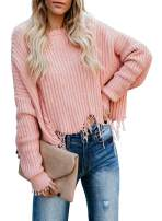 Womens Casual V Neck Sweater, Long Sleeve Color Block Loose Ripped Knit Oversized Pullover Jumper Top