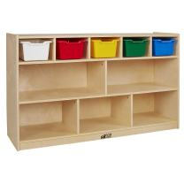 ECR4Kids Birch 5+5 Storage and Tray Cabinet with 5 Scoop Front Bins, Assorted Colors
