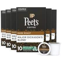 Peet's Coffee Major Dickason's Blend, Dark Roast, 60 Count Single Serve K-Cup Coffee Pods for Keurig Coffee Maker, Black