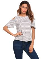 EASTHER Women's Casual Letter Printed Tshirt V Neck Short Sleeve Tunic Top