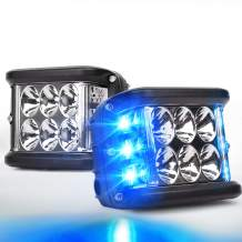 OVOTOR Side Shooter LED Lights with Dual Side Blue DRL with Strobe, 30W Off Road Flood Spot Driving Light Pods for Jeep Truck SUV ATV UTV 4x4