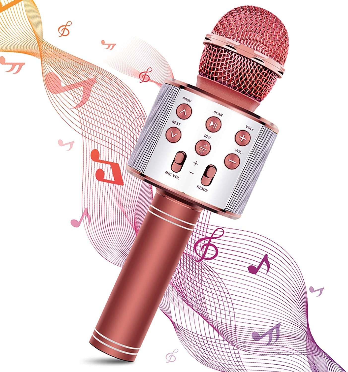 DigitCont Bluetooth Karaoke, Wireless Microphone 5-in-1 Portable Handheld Karaoke Mic, Speaker Machine Player Recorder with Adjustable Remix FM Radio Christmas Birthday Home Party for Kids Adults