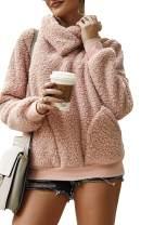 Angashion Womens Outwear Coat Long Sleeve Faux Fur Zipper Cowl Neck Fleece Pullover Sweatshirt Tops with Pocket