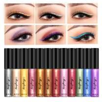 Glitter Liquid Eyeliner, Coosa 12 Colors Long Lasting Waterproof Shimmer Eyeliners (12PCS-A)