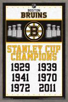 "Trends International NHL Boston Bruins - Stanley Cup Champions, 22.375"" x 34"", Barnwood Framed Version"