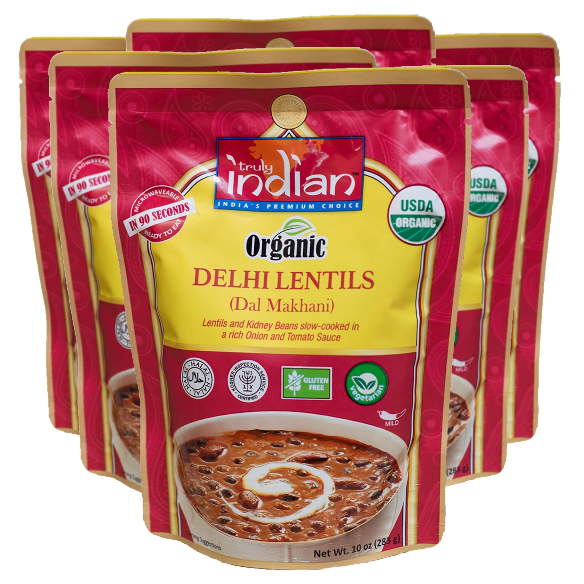 Truly Indian Organic Delhi Lentil, Dal Makhani, Ready-To-Eat, Bold, Flavorful! Halal, Kosher, Gluten-Free, Vegan and Vegetarian, 6 pack