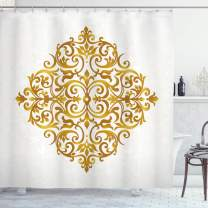 "Ambesonne Mandala Shower Curtain, Victorian Style Traditional Filigree Inspired Royal Oriental Classic Print, Cloth Fabric Bathroom Decor Set with Hooks, 75"" Long, Caramel White"