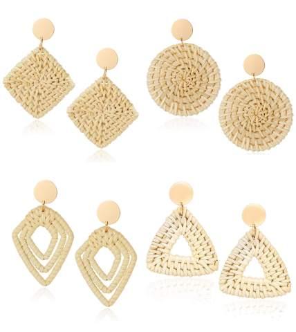 Golden brass earrings. Big hoop earrings with fan shaped Statement Earrings for women Genuine Leather Earrings Lightweight earrings