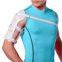 BraceAbility Sarmiento Brace - Humeral Shaft Fracture Splint Cast for Broken Upper Arm, Shoulder, Bicep and Humerus Bone with Stockinette, Sling and Cuff Support (XS)