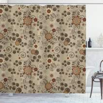 """Ambesonne Grunge Shower Curtain, Floral Pattern with Fantasy Elements Swirls Curves and Dots Retro Colors, Cloth Fabric Bathroom Decor Set with Hooks, 70"""" Long, Pale Brown"""