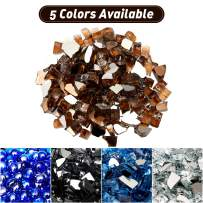 U-MAX 10-Pound Reflective Fire Glass 1/2-inch Crushed Glass Lava Rocks for Polygon Fire Pit Fireplace Landscaping, Amber Reflective