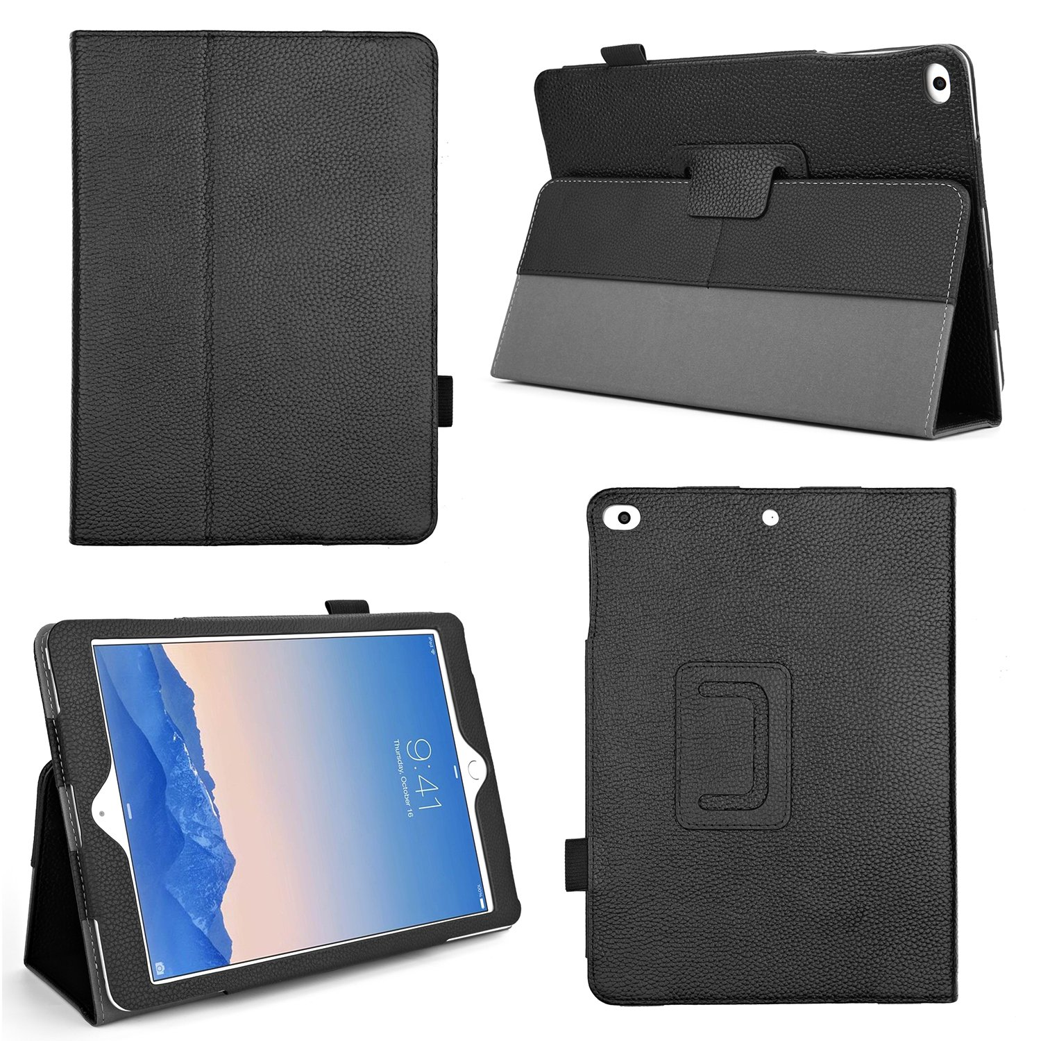 Bear Motion BMIPADAIRLLBK for New iPad 2017 and iPad Air 1, Genuine Cowhide Leather Case with Hand Strap, Built-in Stand and Auto Wake/Sleep Function for Apple iPad Air 1 and New iPad 2017 Model - Black