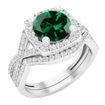 Dazzlingrock Collection 8 mm Round Lab Created Gemstone & White Cubic Zirconia Ladies Split Shank Halo Wedding Ring Set, Sterling Silver