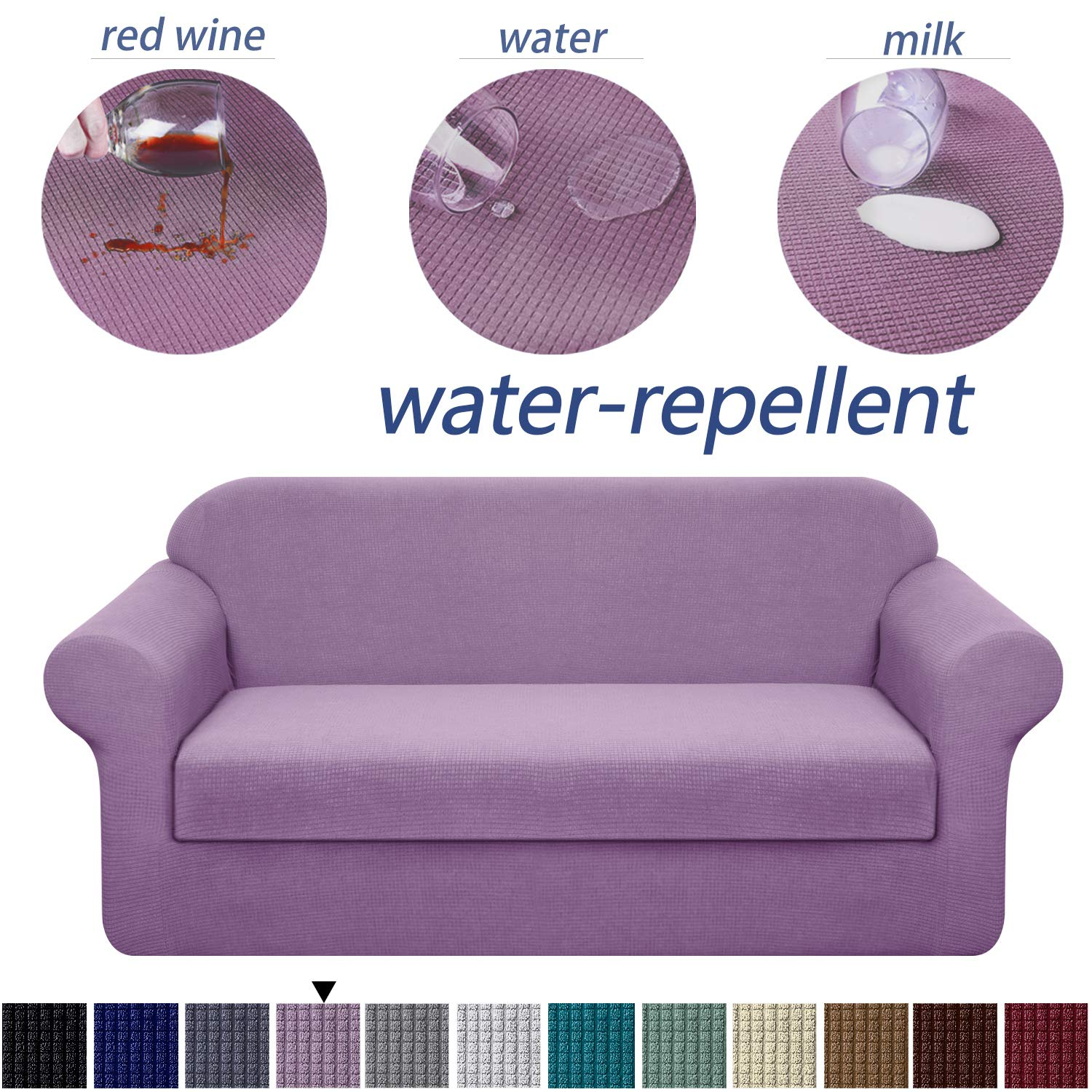 Granbest Stretch Sofa Slipcovers 3 Cushion Couch Covers Water-Repellent Pet Furniture Covers Dog Couch Protectors (Light Purple, XLarge-2 Pieces)