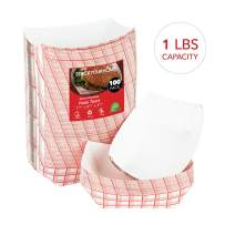"""Paper Food Boats (100 Pack) Disposable Red and White Checkered Paper Food Trays - Eco Friendly Red Paper Food Trays 1 Lb – Serving Boats for Concession Food and Condiments, Paper Food Tray 4.25"""" x 2"""""""